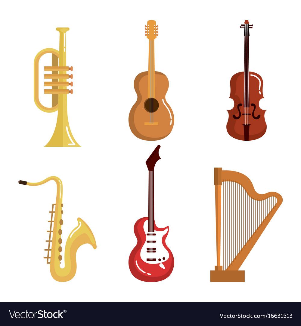 Set Of Musical Instruments Event Symbols Vector Image