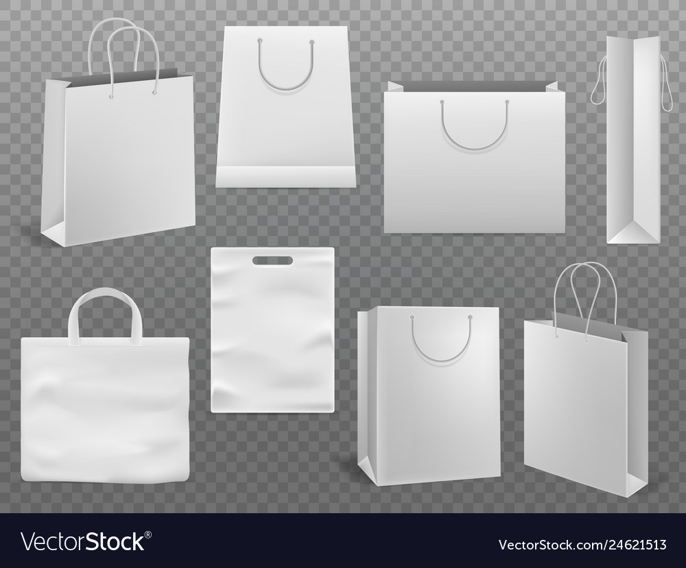 Shopping bag mockups empty handbag white paper