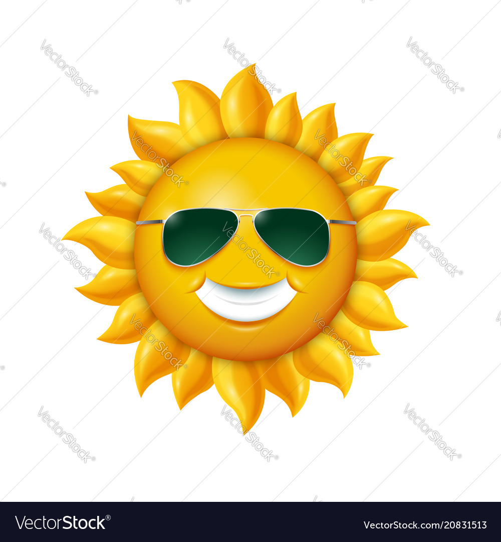 Smiling summer sun in sunglasses