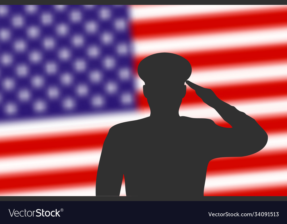 Solder silhouette on blur background with united
