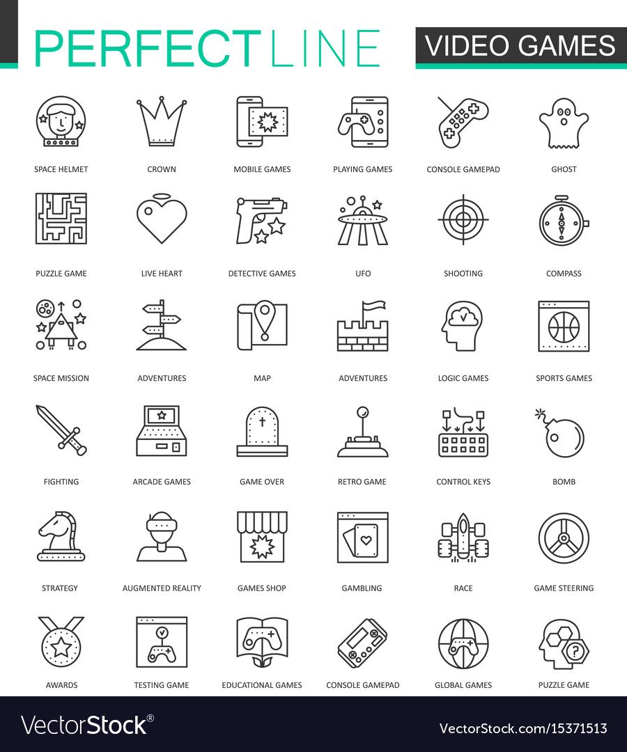 Video games thin line web icons set mobile game