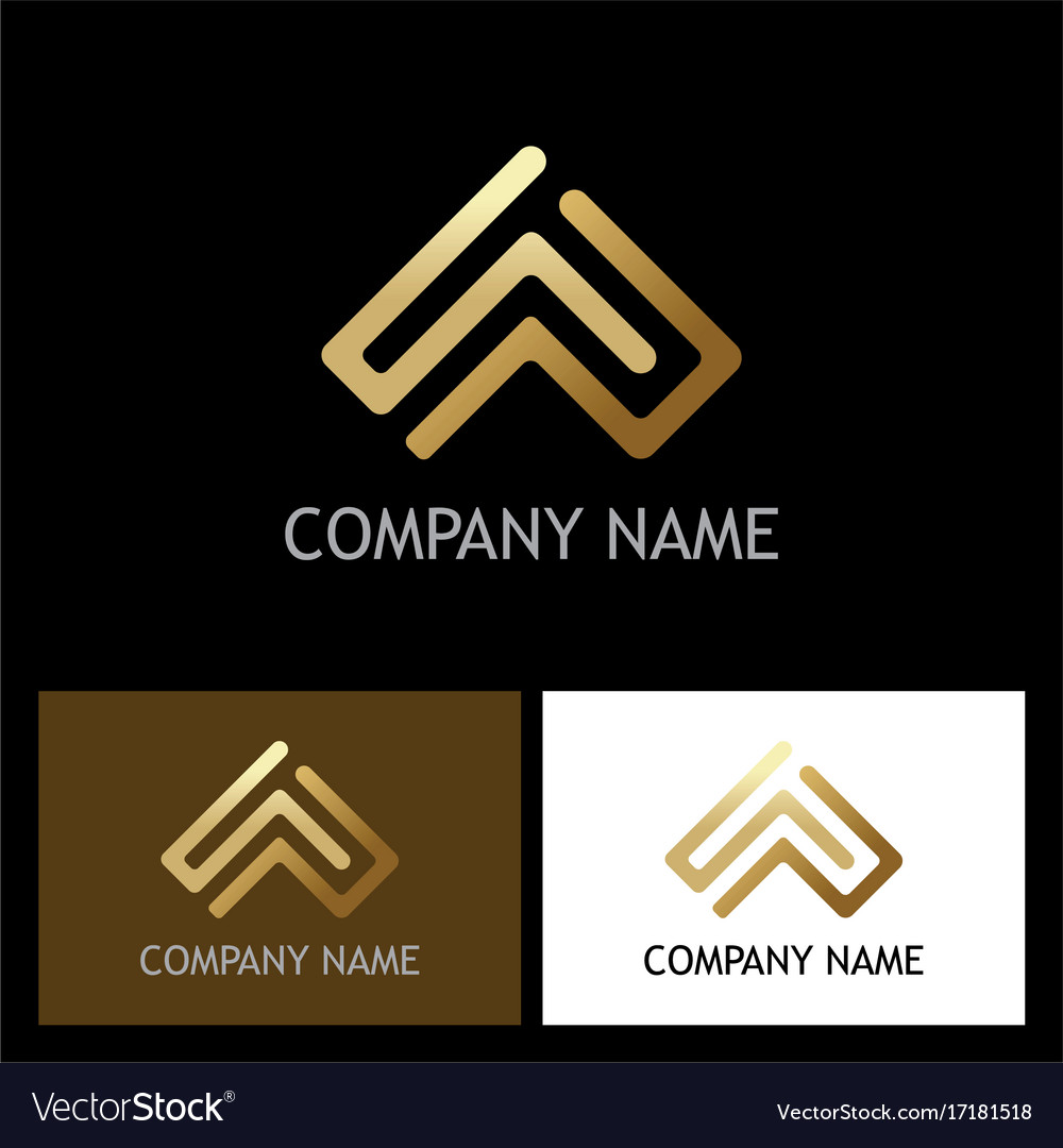 Arrow up square gold company logo vector image