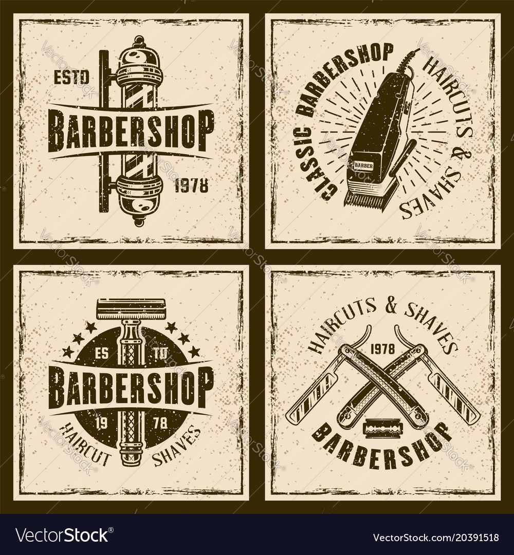 Barbershop four colored vintage grunge emblems vector image