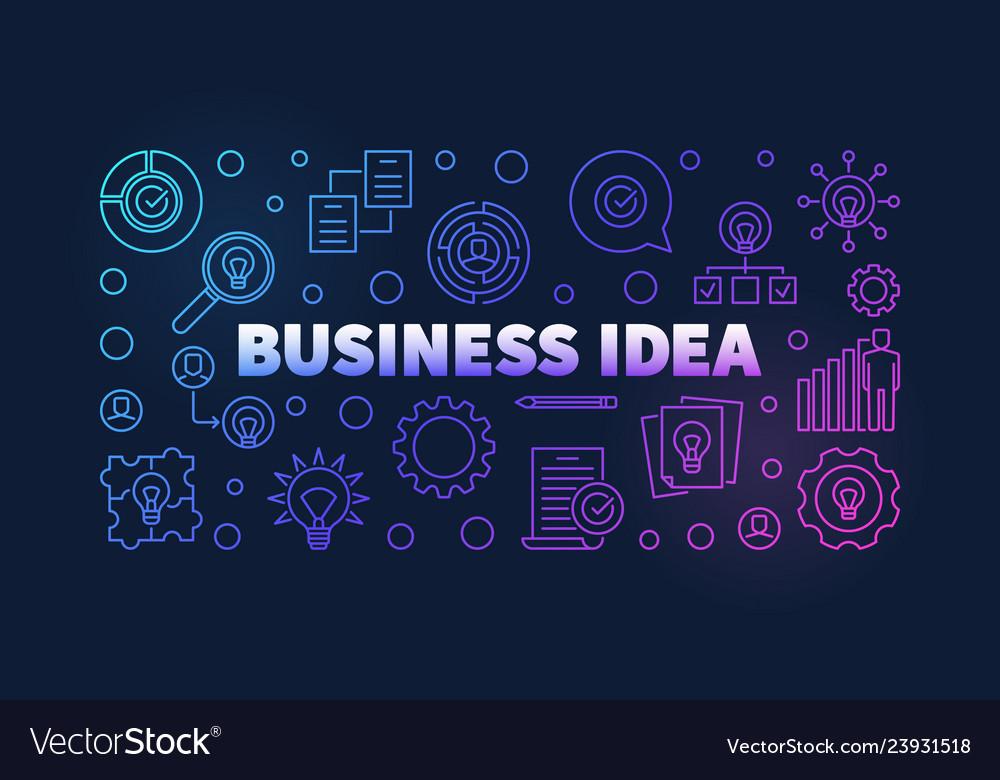 Business idea colorful outline banner on dark
