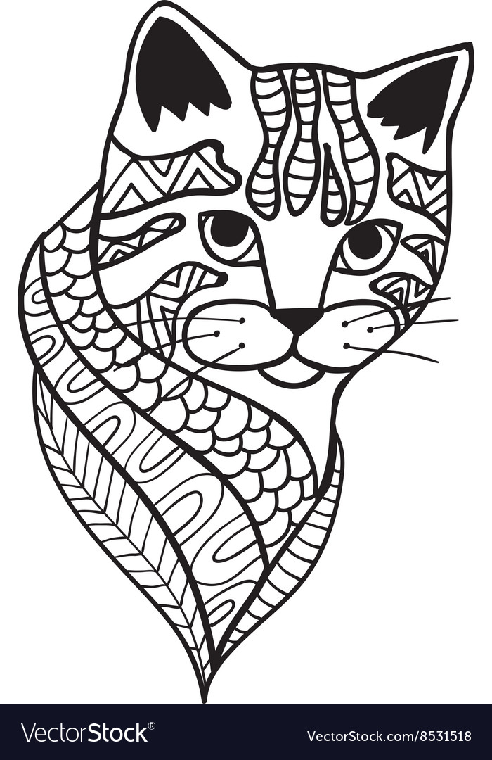 Cat Black and white doodle print with ethnic