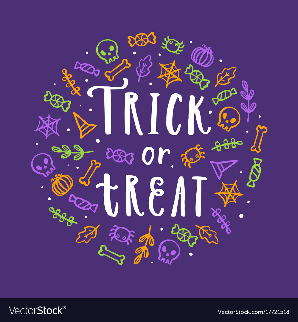 Cute halloween lettering and doodle art