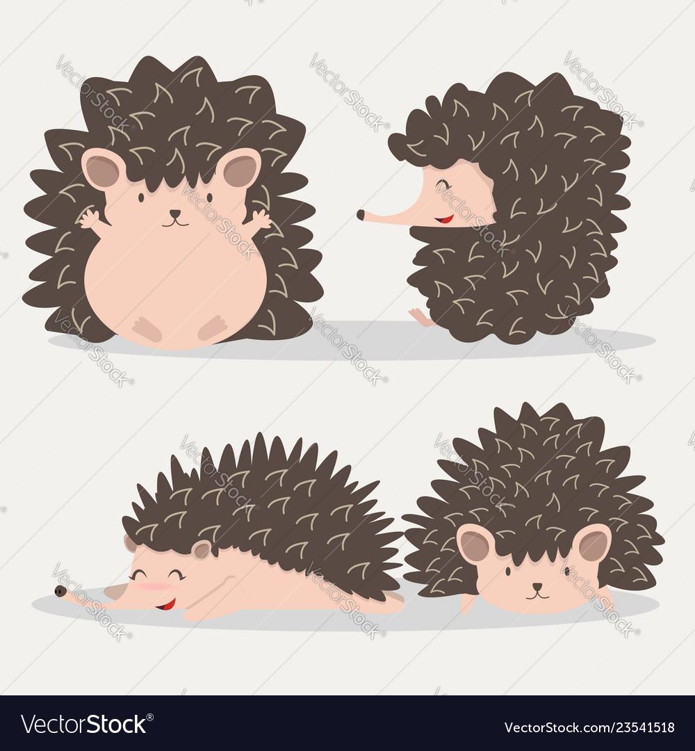 Cute hedgehog animal set
