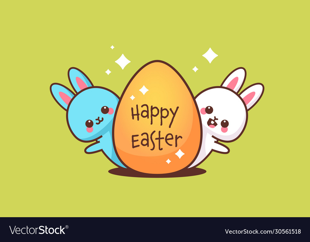 Cute rabbits with egg happy easter bunnies sticker