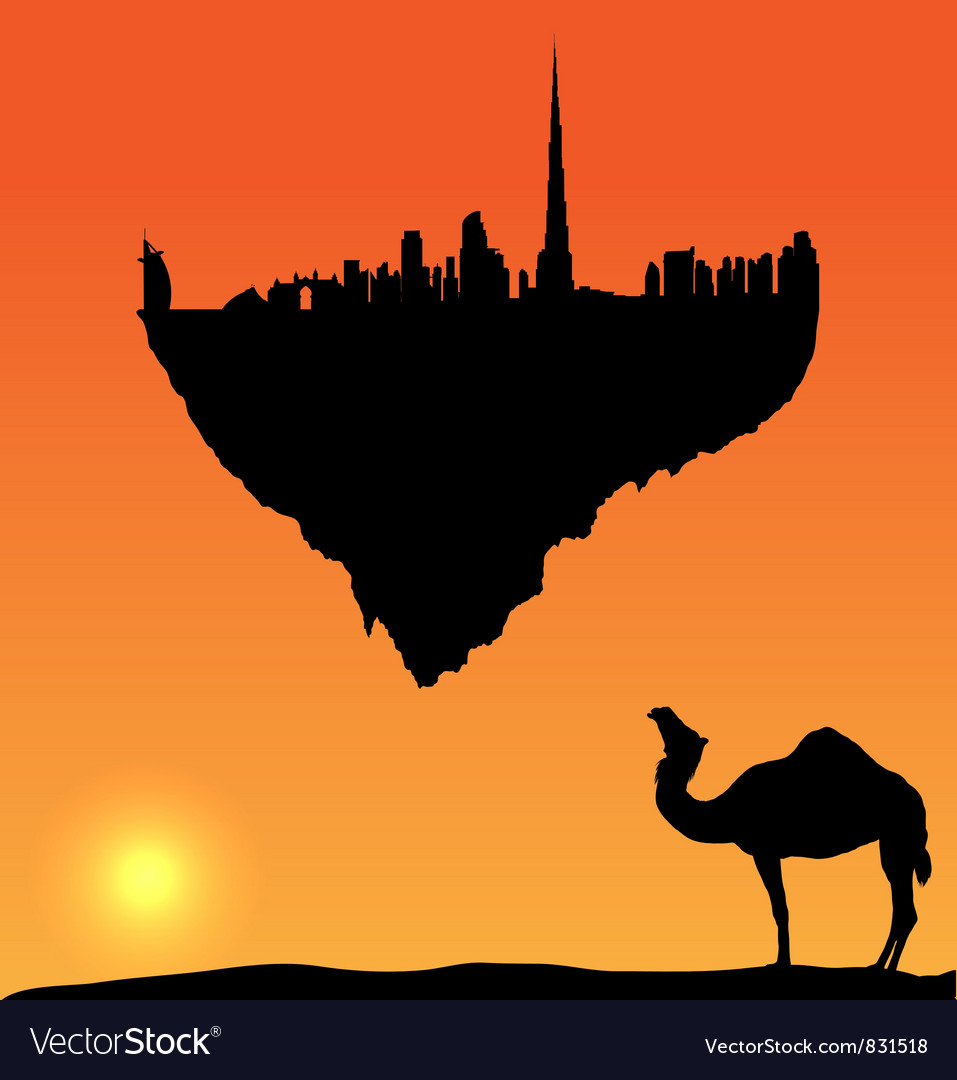 Dubai silhouette flying island vector image
