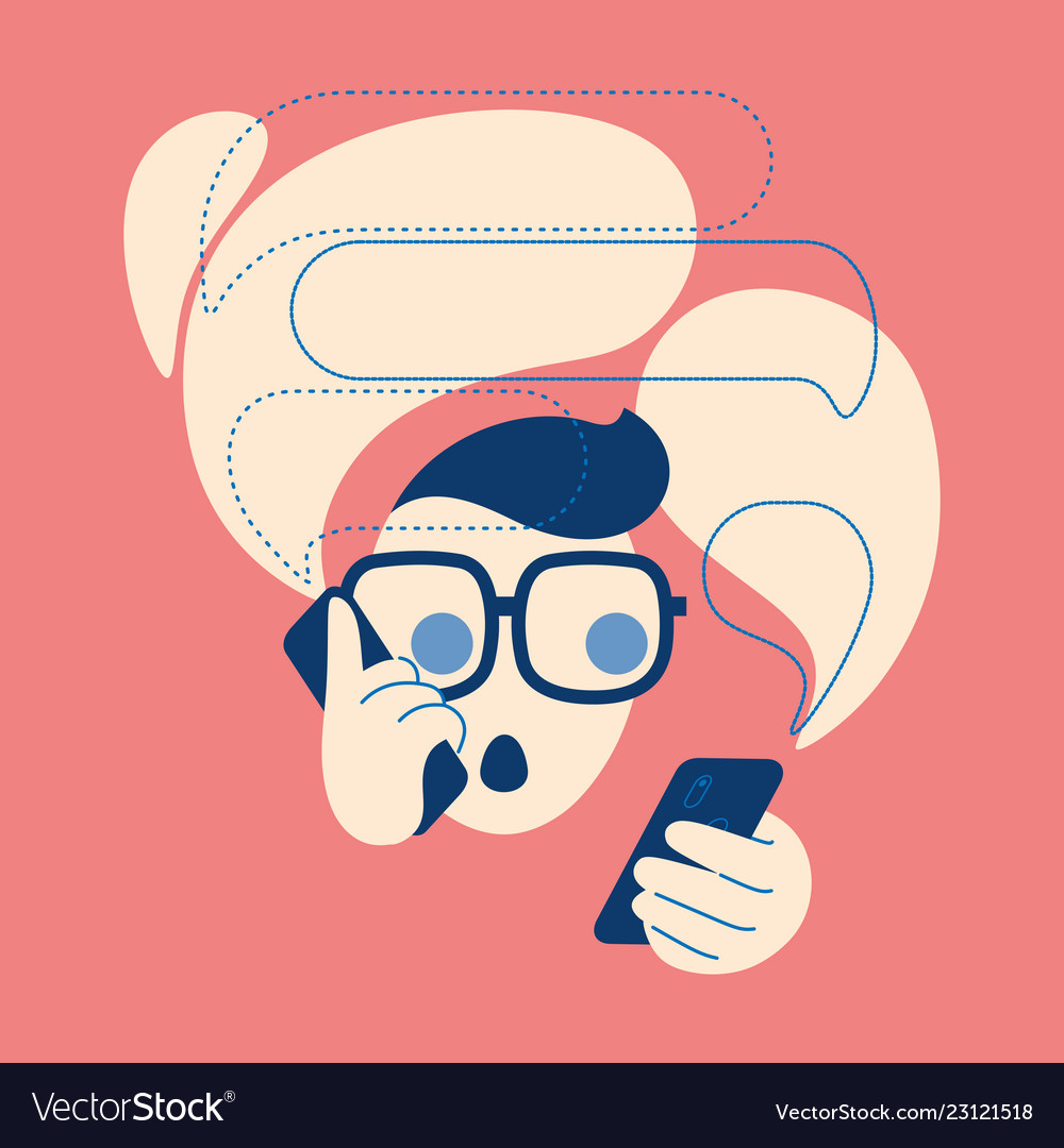 Icon of talking on the phone a man with a bubbles