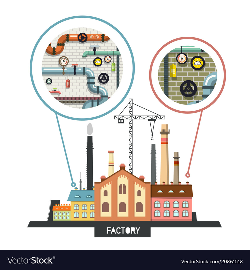 Industrial building factory with interiors in vector image