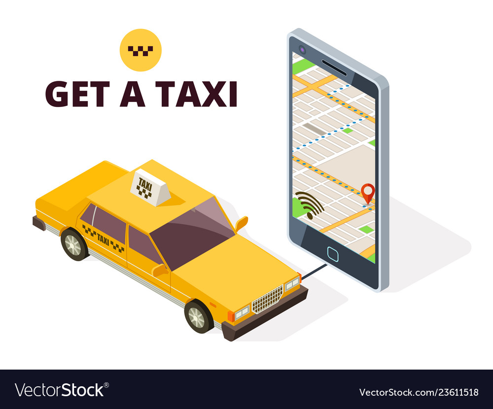 Isometric mobile taxi and gps city map navigation