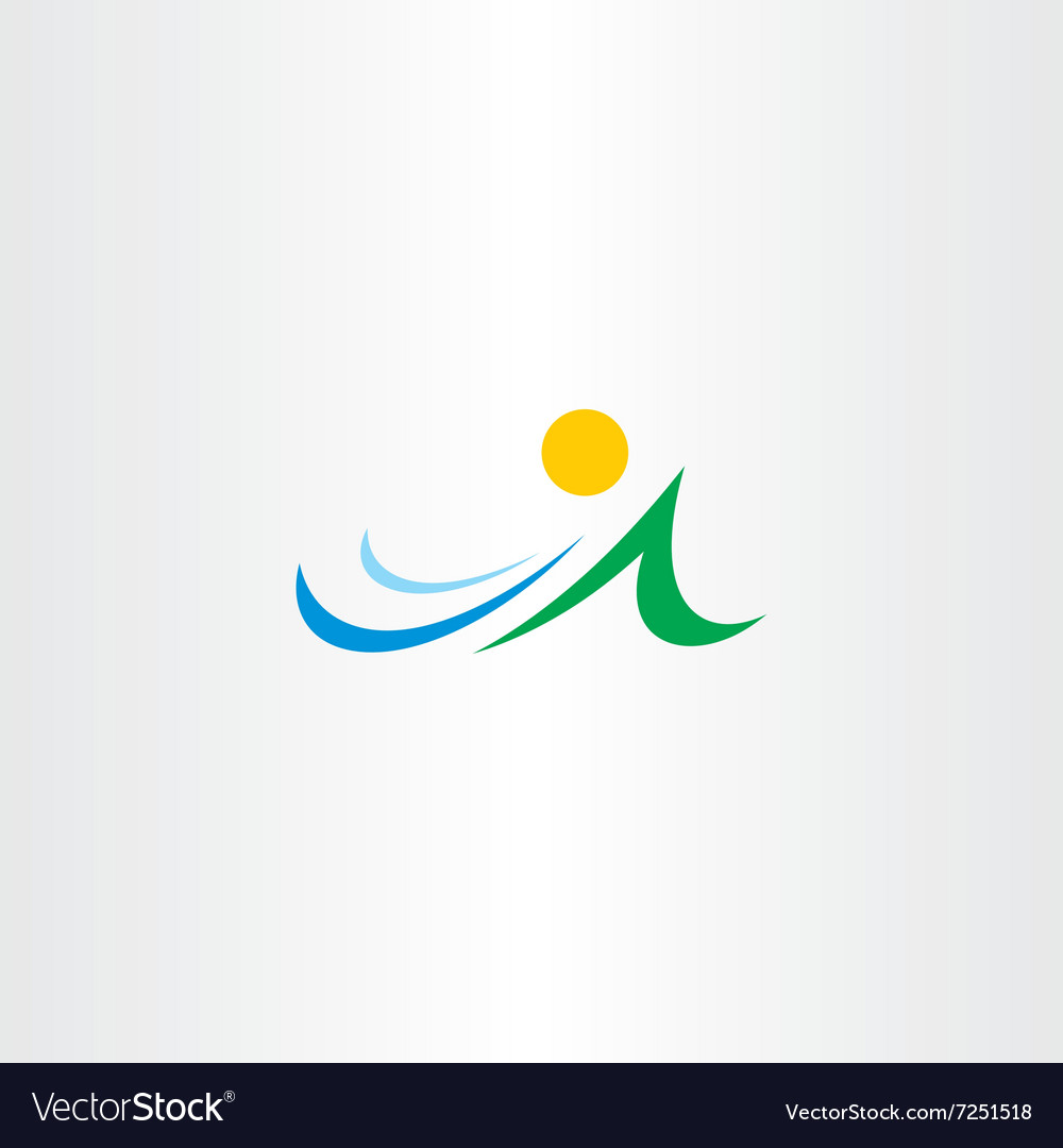 Mountain river and sun icon element symbol vector image