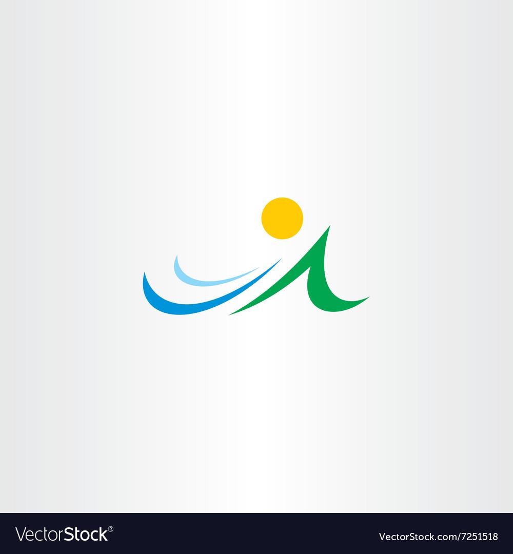 Mountain river and sun icon element symbol