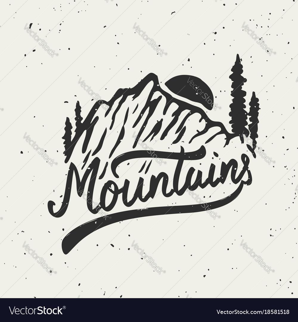 Mountains mountain on grunge background