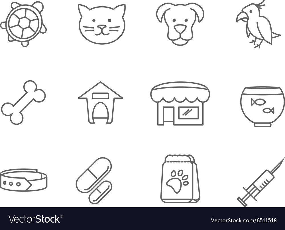 Pets shop and clinic line icons