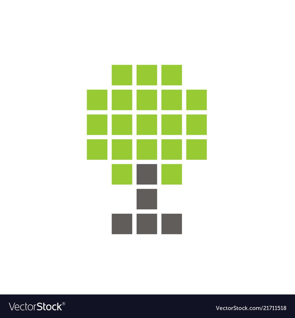 Pixel tree symbol digital plant icon design