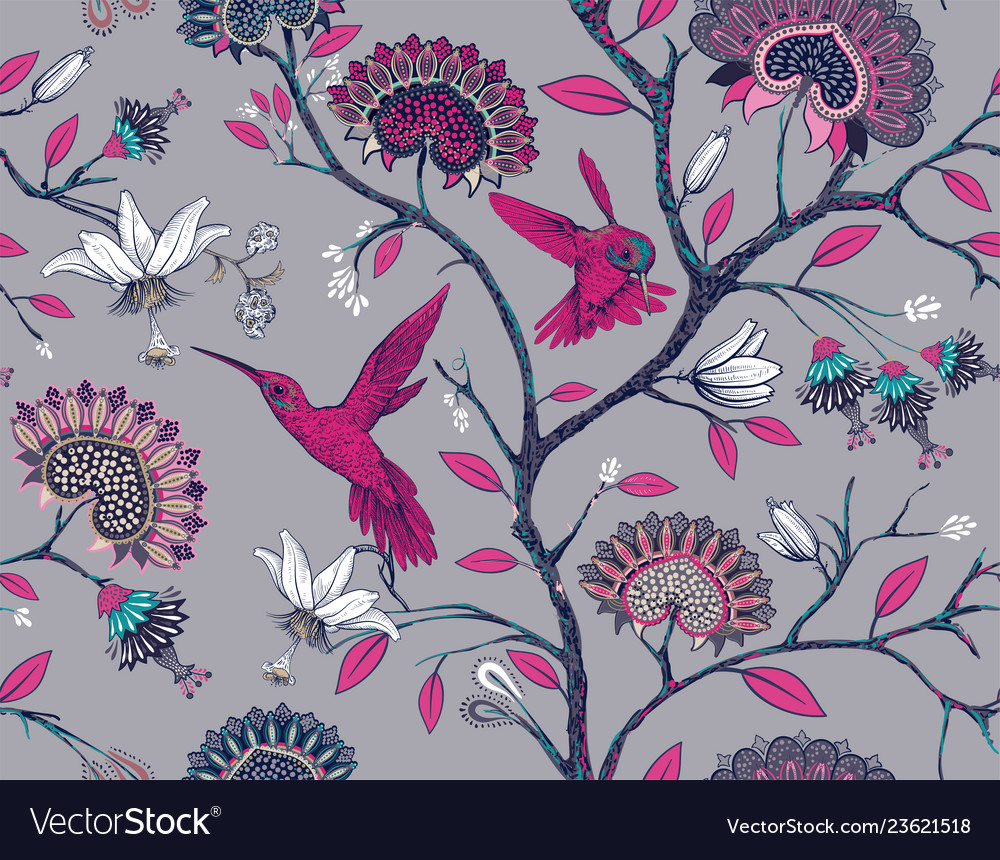 Seamless pattern with stylized flowers and