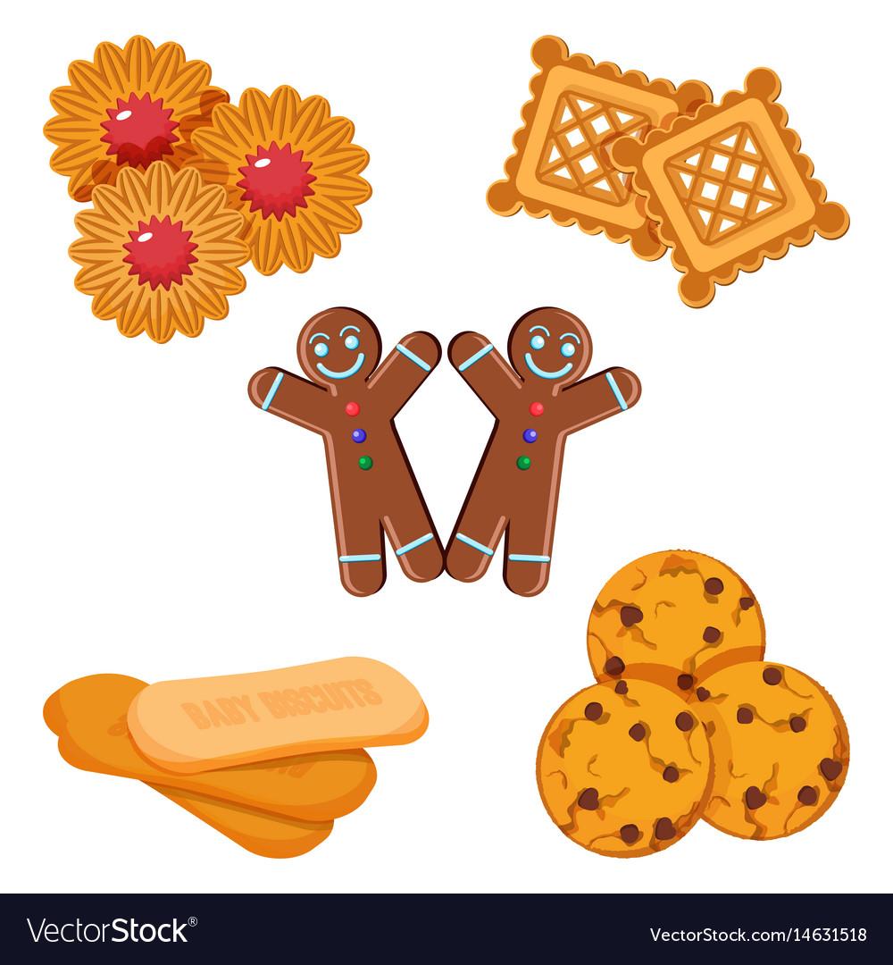 Set of biscuits gingerbread boy vector image