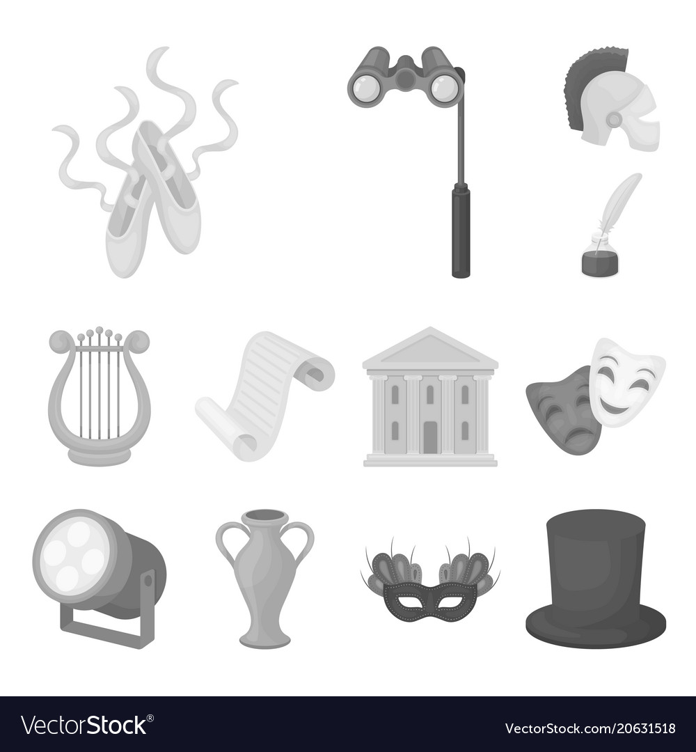 Theatrical art monochrome icons in set collection