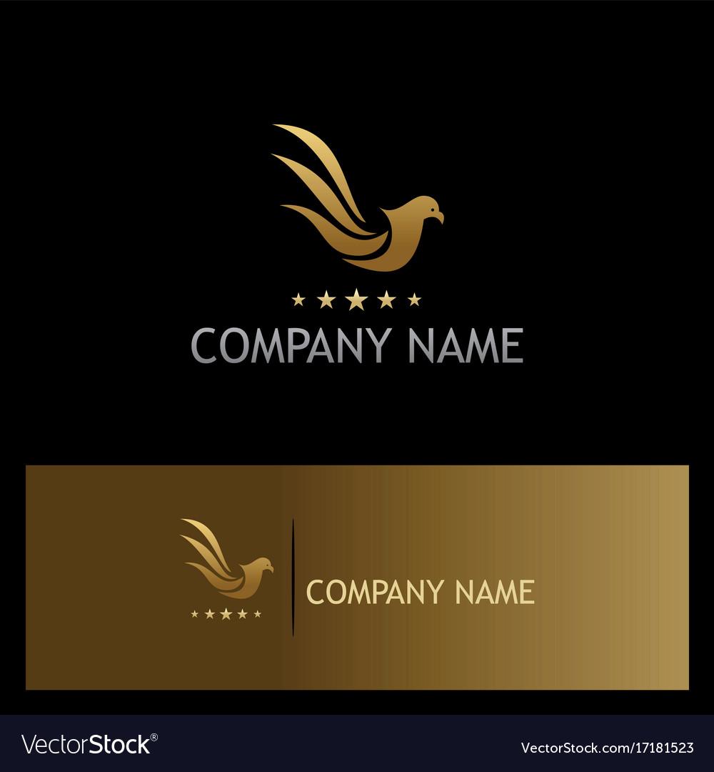 Bird pigeon fly star gold logo vector image