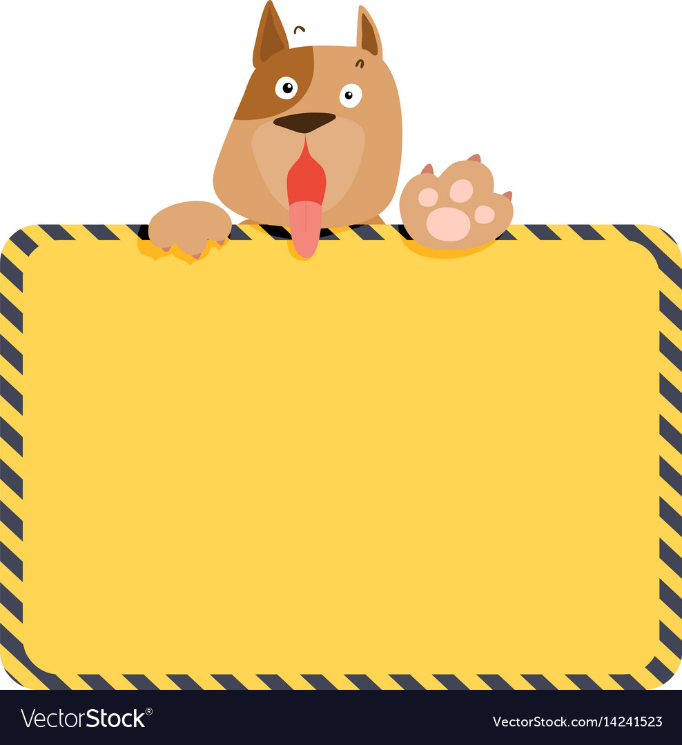 Cute alert dog hold empty board vector image