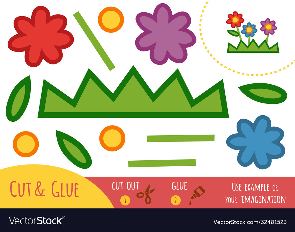 Education paper game for children flowers