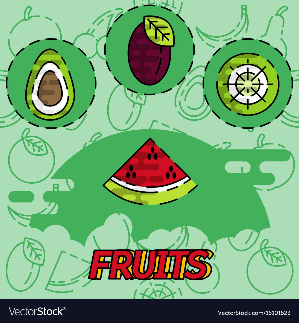 Fruits flat concept icons
