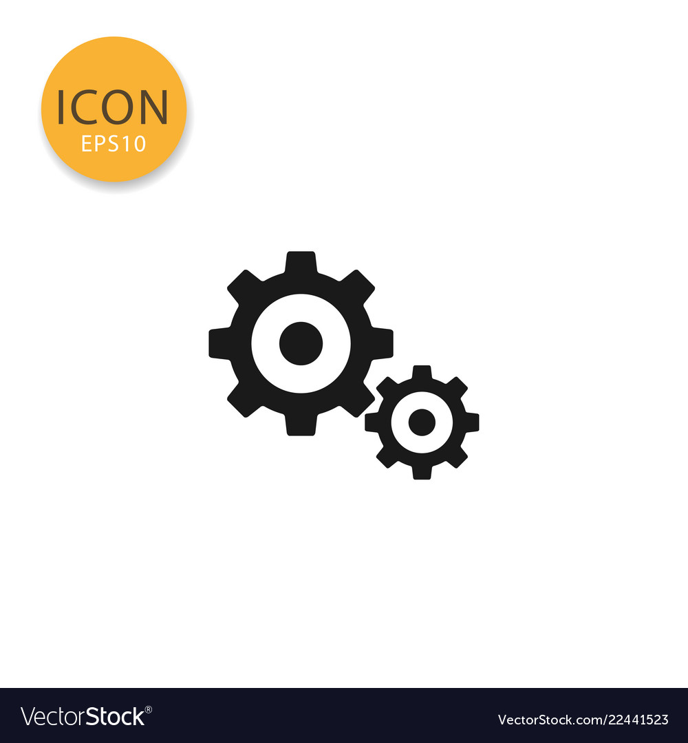 Gears icon isolated flat style
