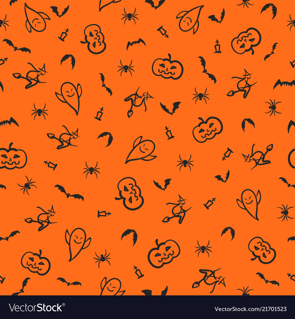Halloween seamless pattern background hand