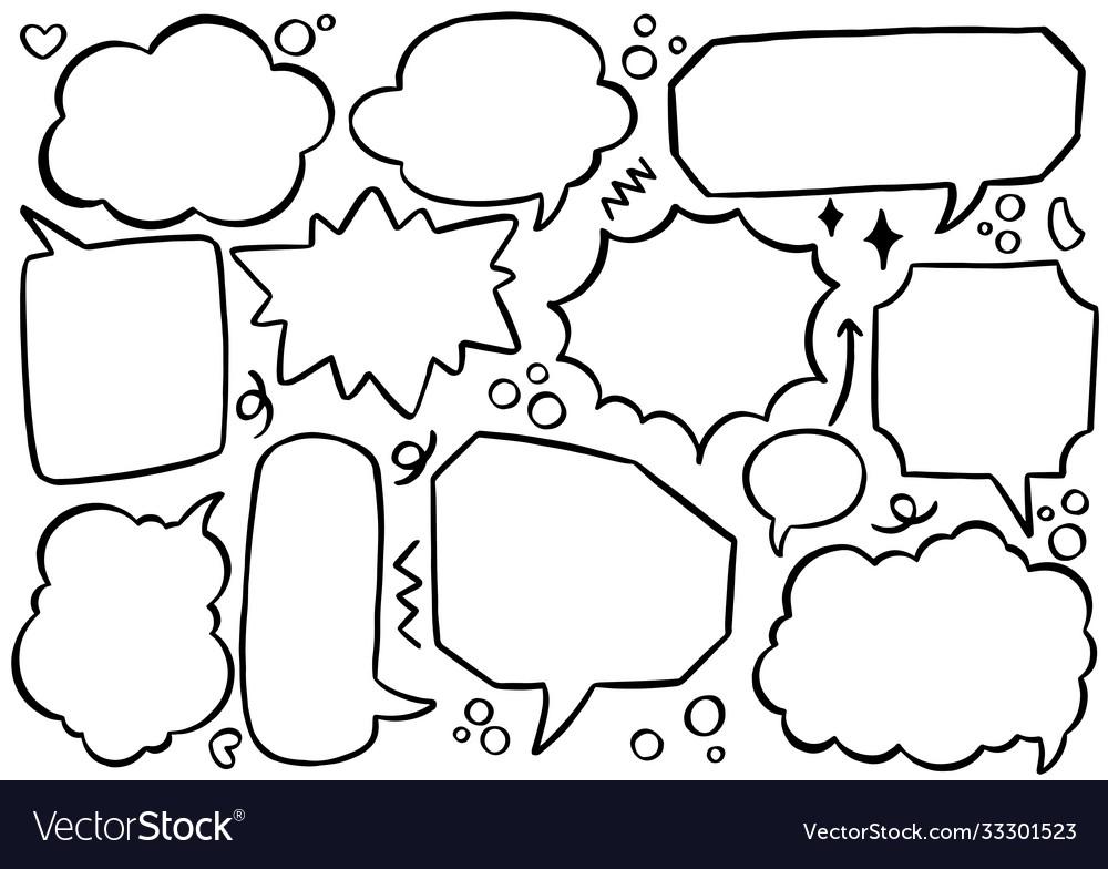 Hand drawn background set cute speech bubble