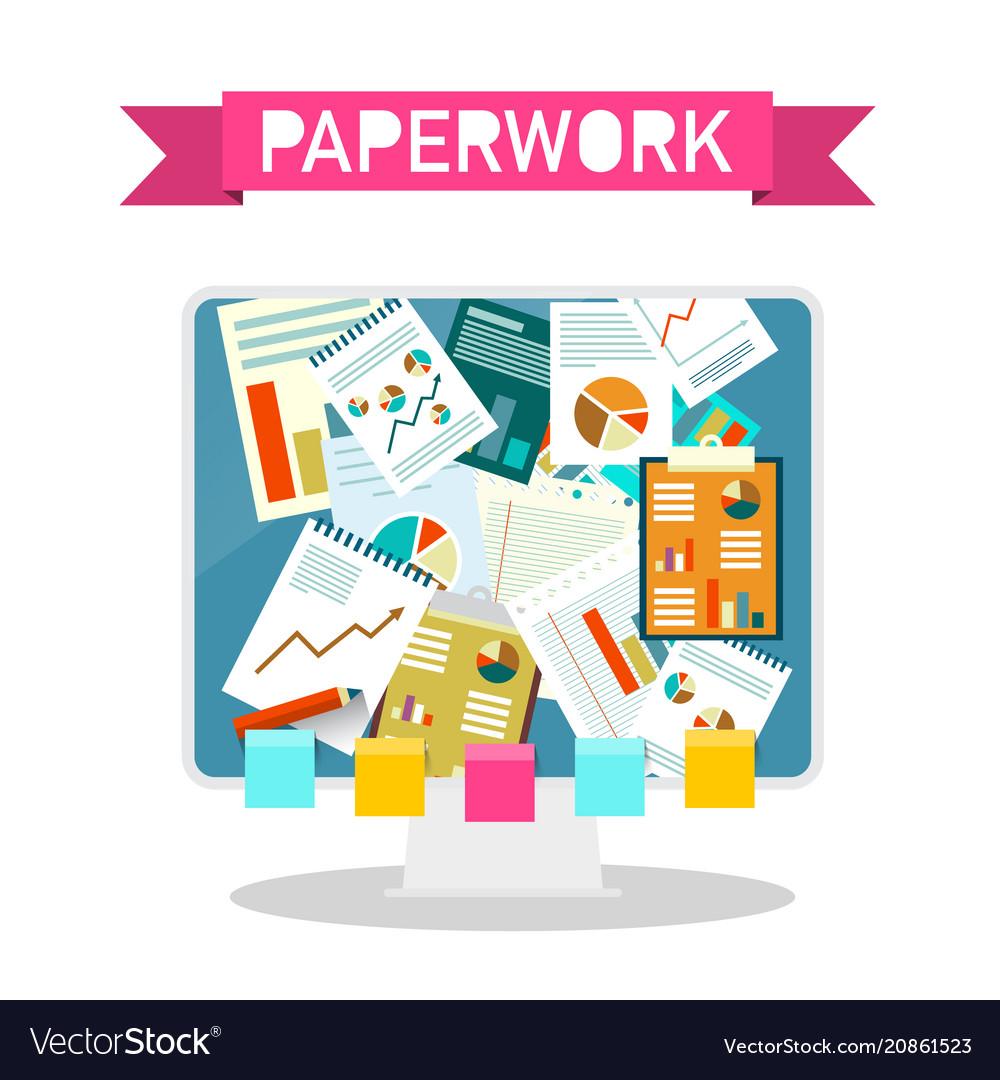 Paperwork design on computer screen