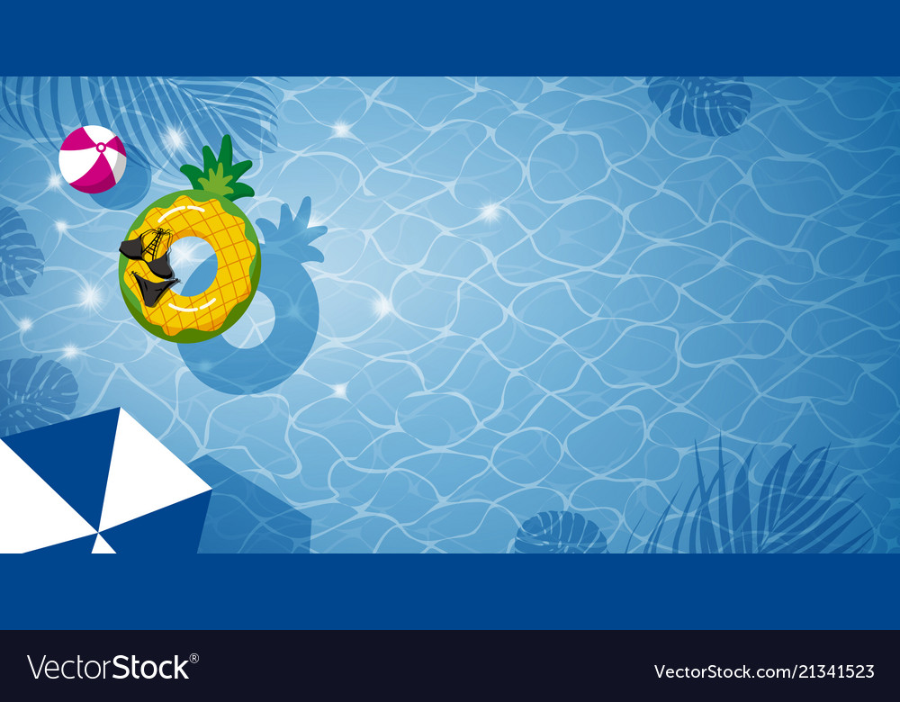 Pineapple inflatable in swimming pool