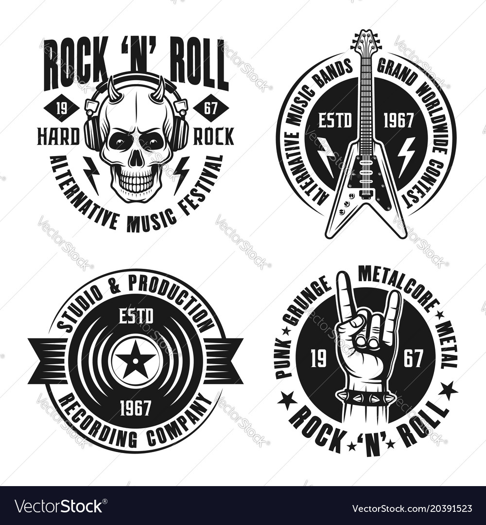 Rock n roll music four emblems labels badges