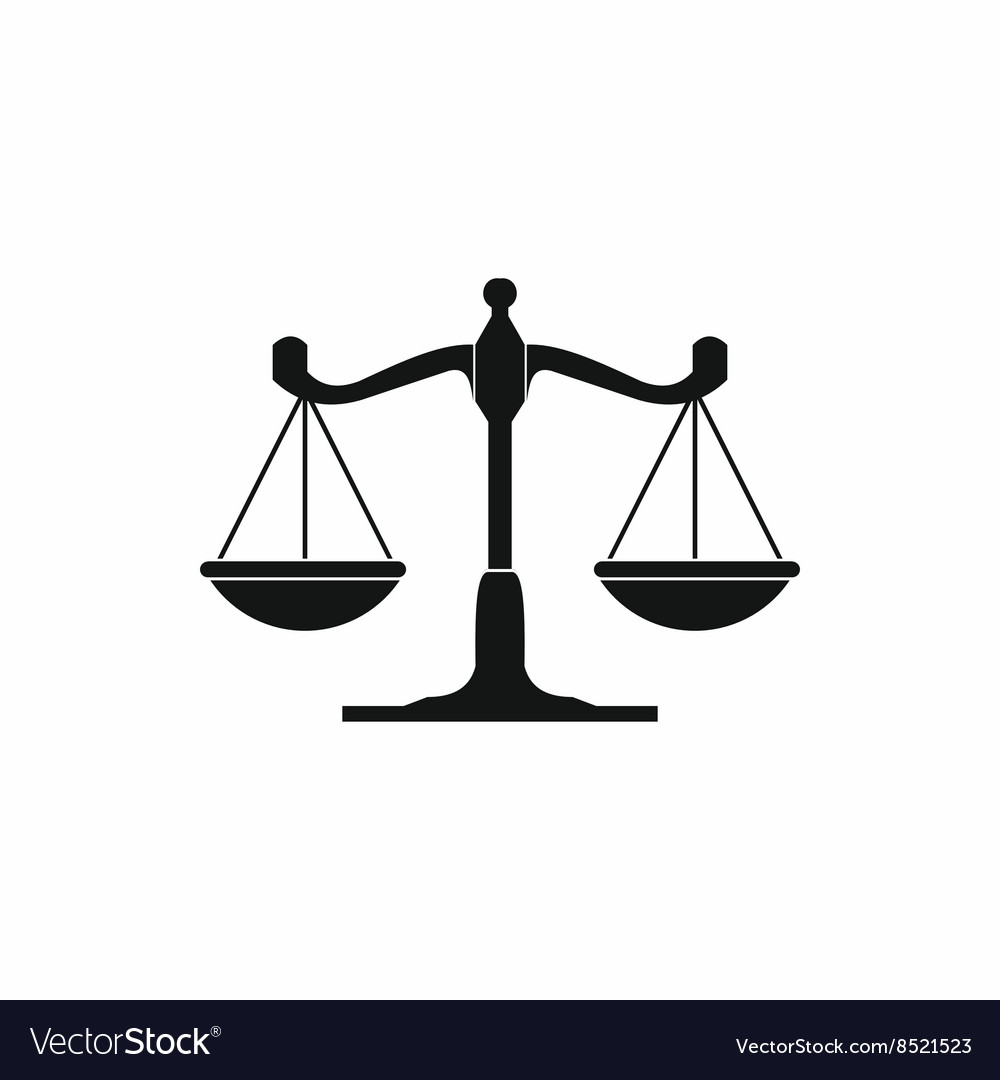 Scales of justice icon simple style