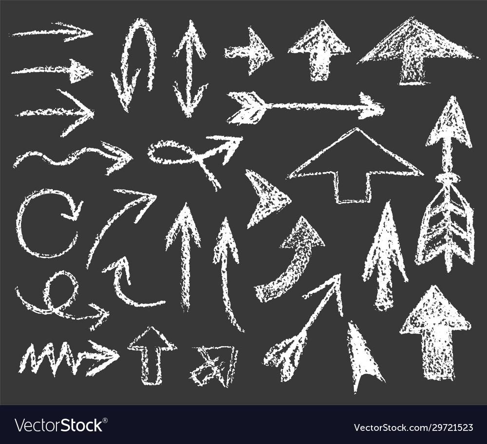 Set white chalk arrows different shapes