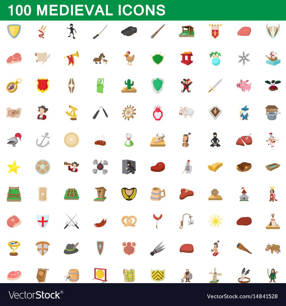 100 medieval icons set cartoon style