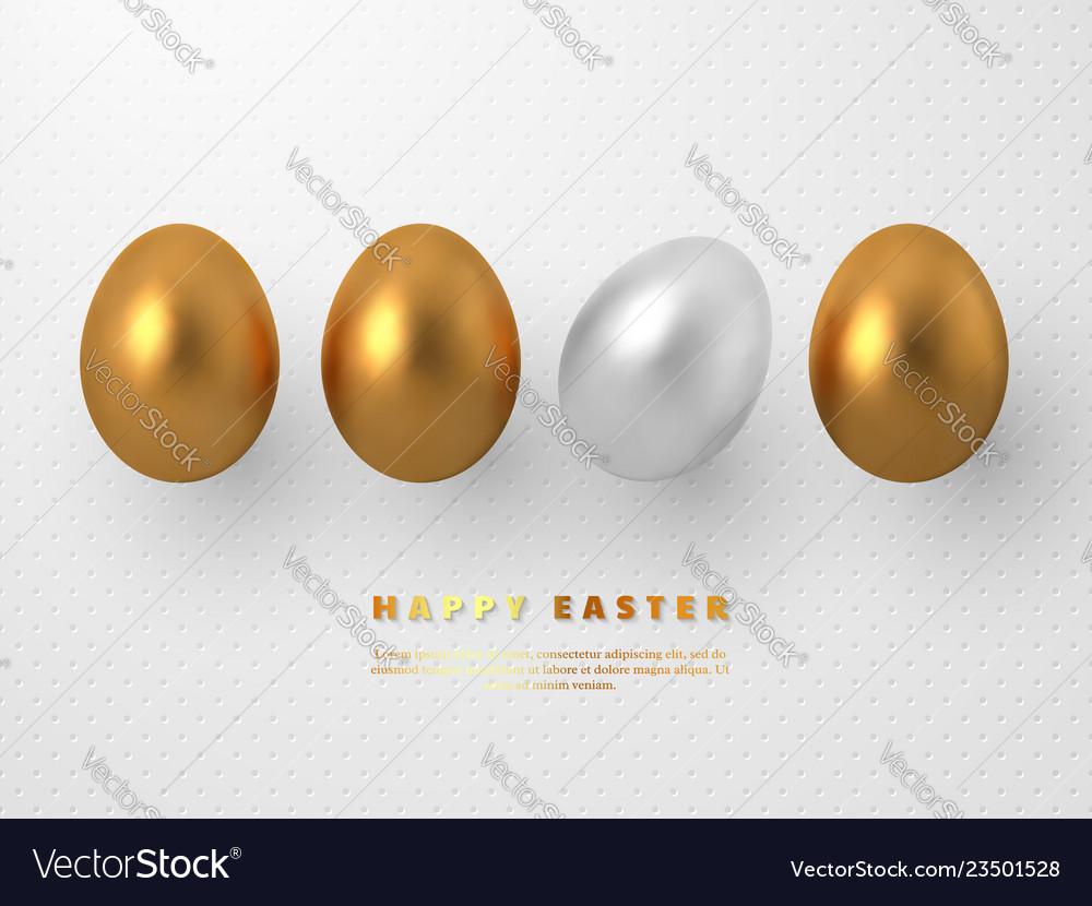 3d metallic golden and white eggs