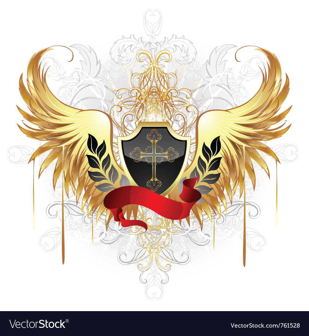 Black shield gold cross vector image