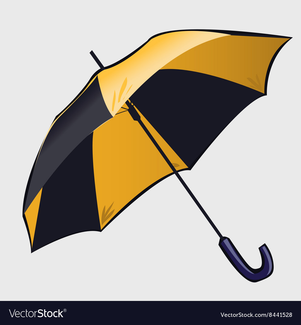 c20a3192d Classic black and yellow open umbrella Royalty Free Vector