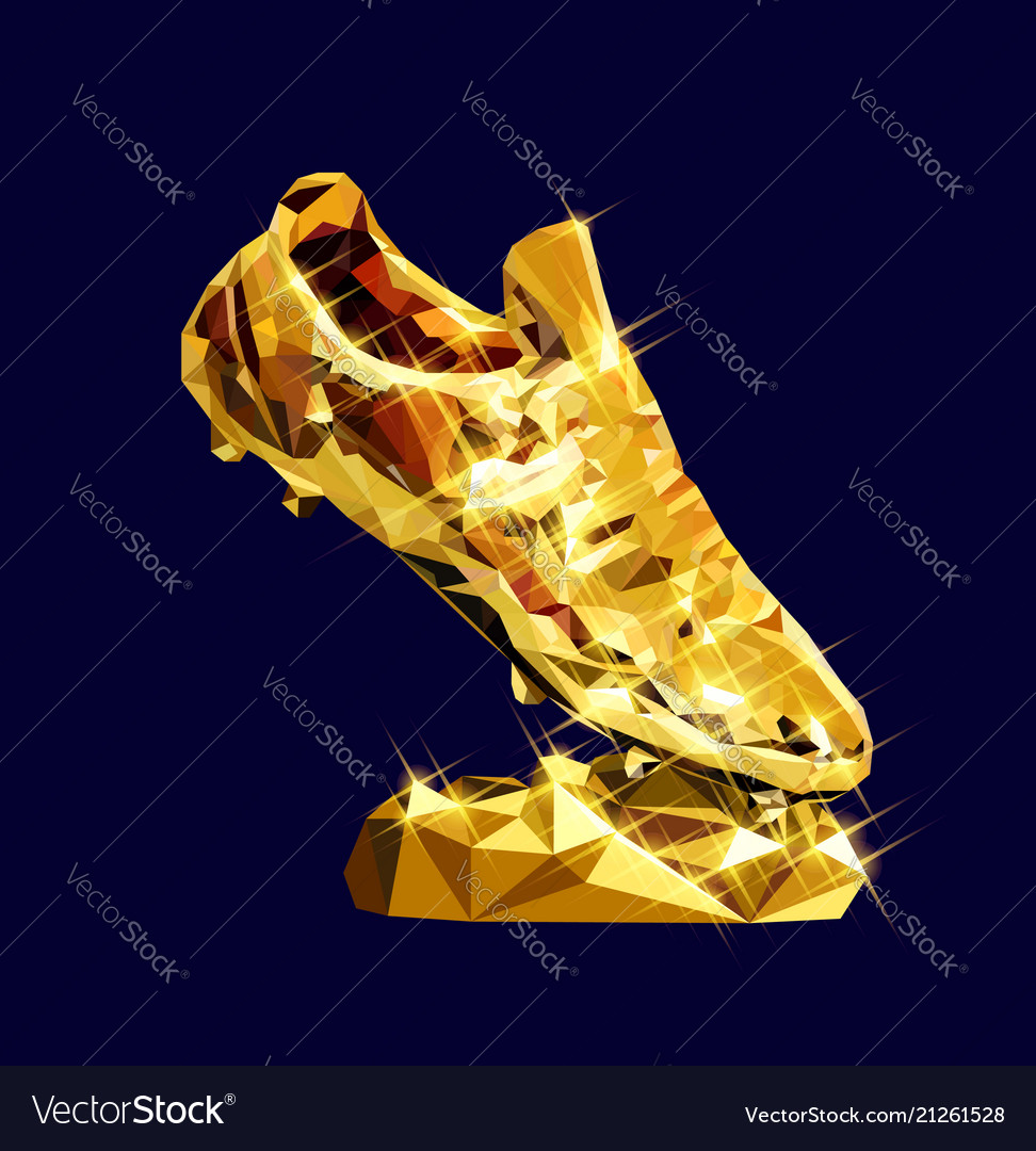 503694d73 Golden boot low poly modeling design Royalty Free Vector