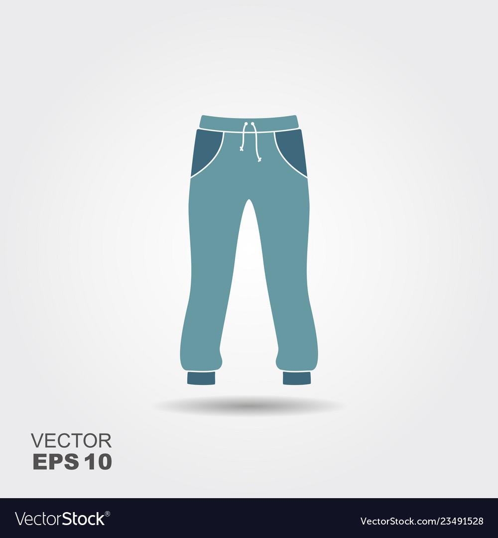 Long sweatpants flat icon with shadow sportswear