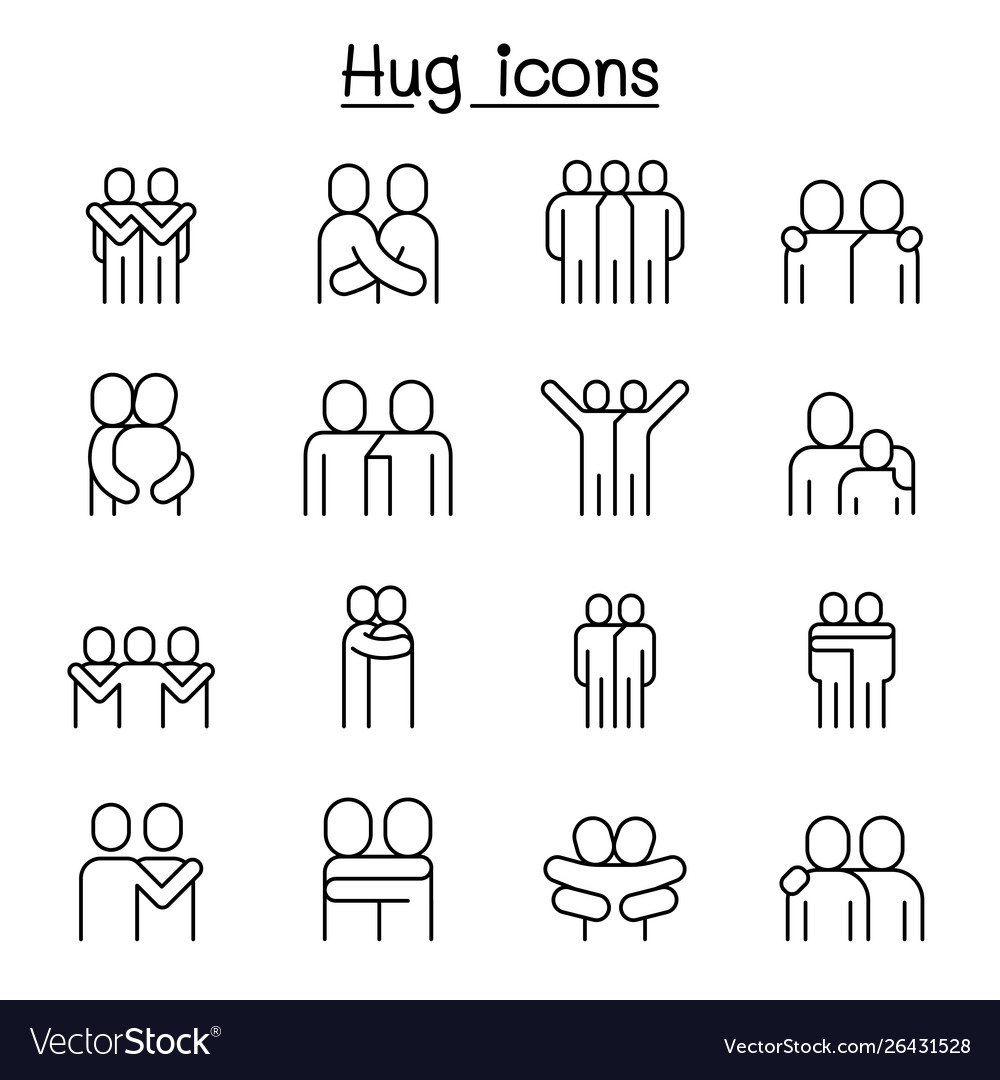 Love hug friendship relationship icon set in thin