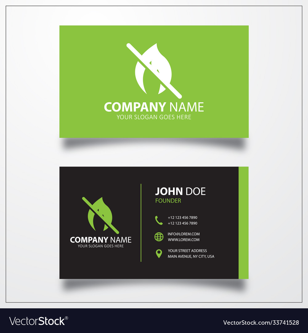 No fire icon business card template