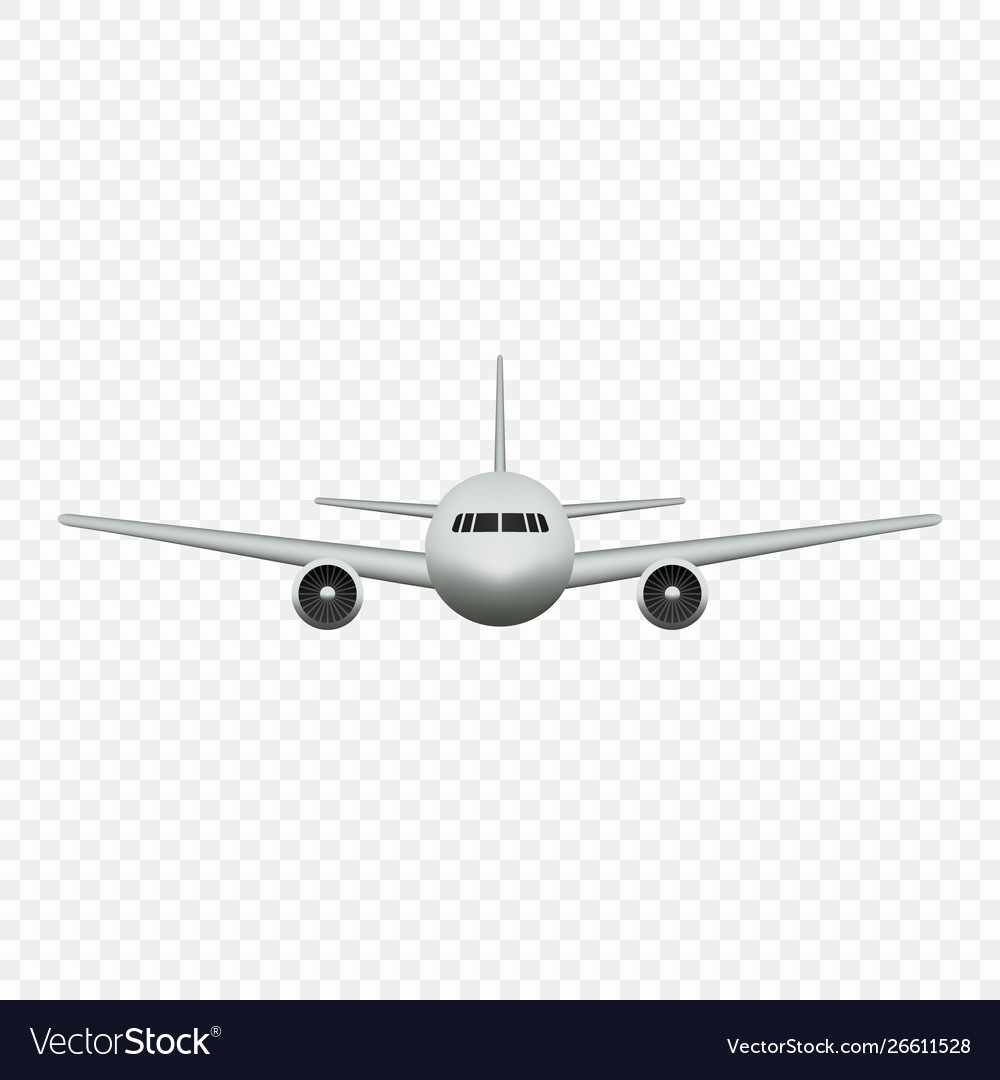 Realistic airplane isolated front view