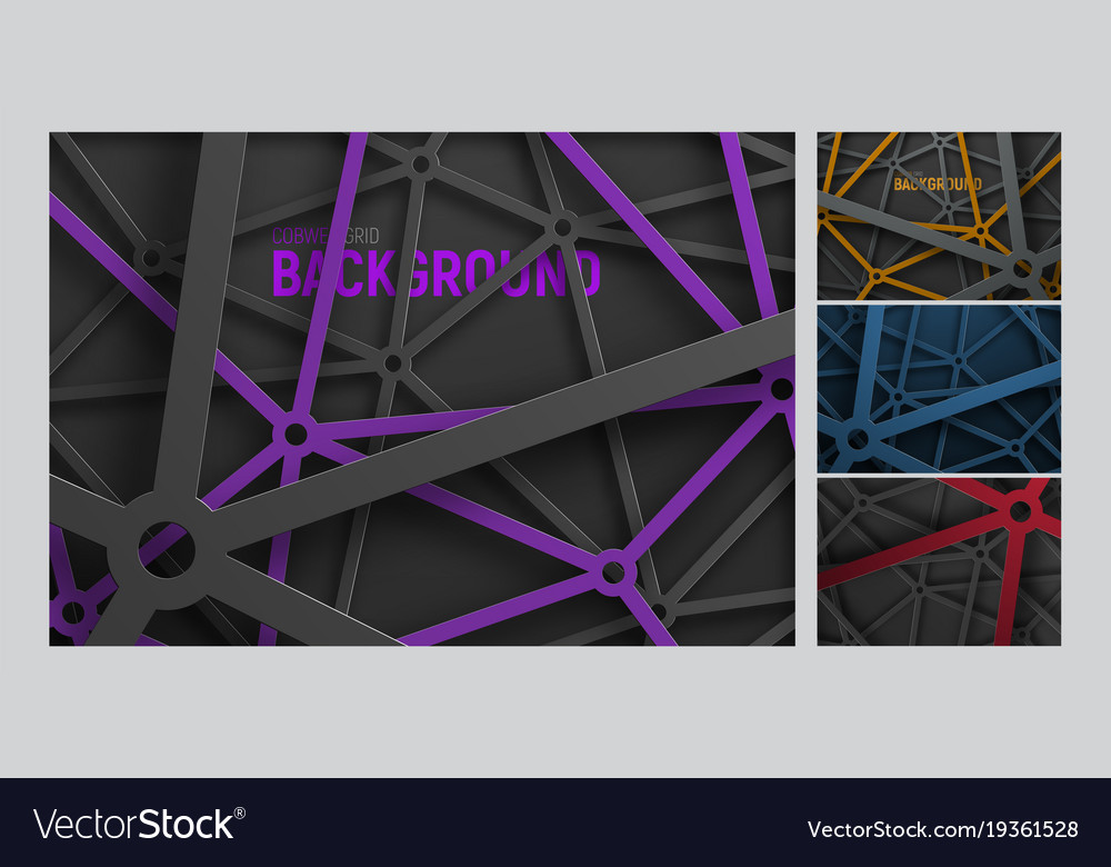 Set of backgrounds in an intricate metal spider