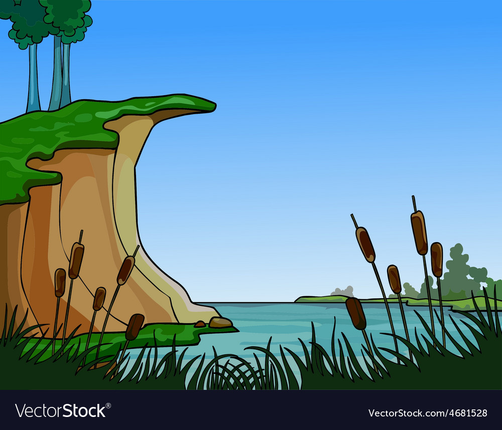 Summer landscape river in the reeds vector image