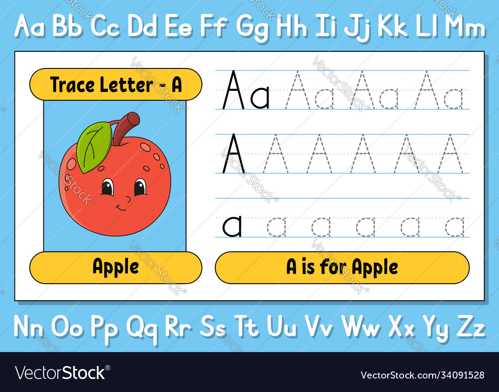 Trace Letters Writing Practice Tracing Worksheet Vector Image