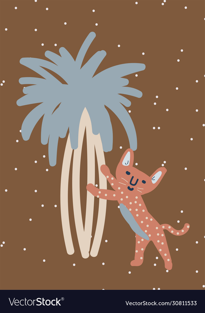 Childish leopard on tree nursery art wall poster