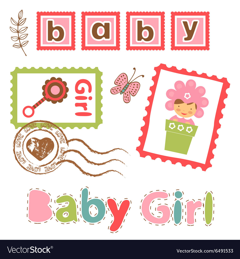 Colorful collection of baby girl announcement